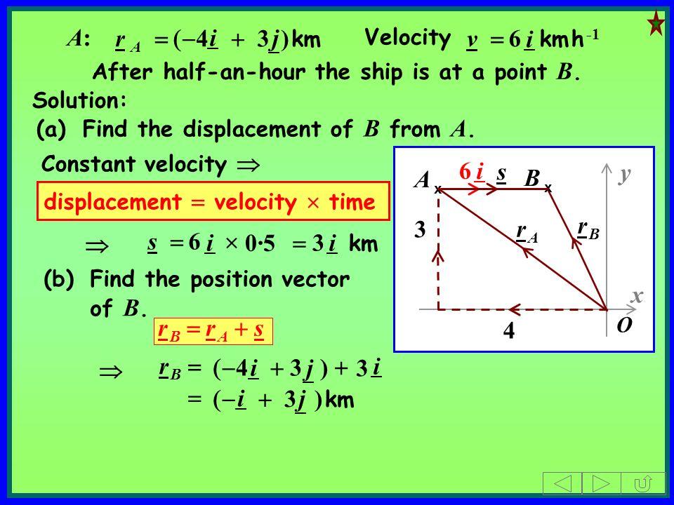 O y x 4 3 A x 6 i After half-an-hour the ship is at a point B. B x displacement velocity time 3 km i s 6 i 4 3 ) i j 3 i 3 ) km i j r A 4 3 ) km i j A