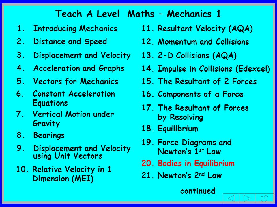 2.Distance and Speed 3.Displacement and Velocity 5.Vectors for Mechanics 7.Vertical Motion under Gravity 8.Bearings 1.Introducing Mechanics 4.Accelera