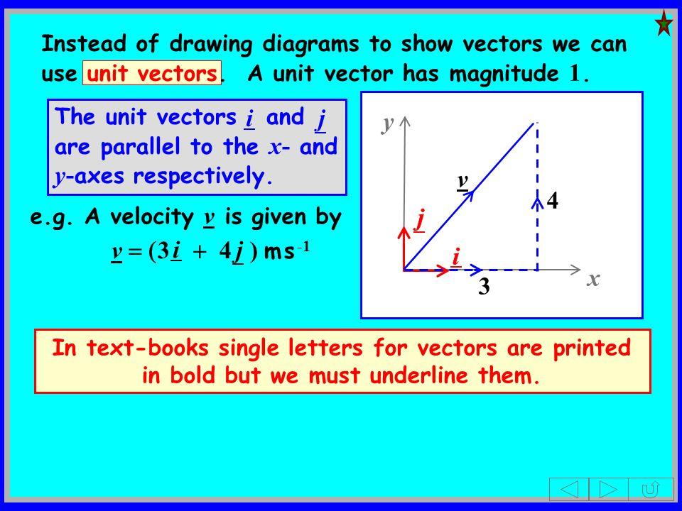 j i e.g. A velocity v is given by v 3 4 ) m s -1 i j x y j i 3 4 v Instead of drawing diagrams to show vectors we can use unit vectors. A unit vector