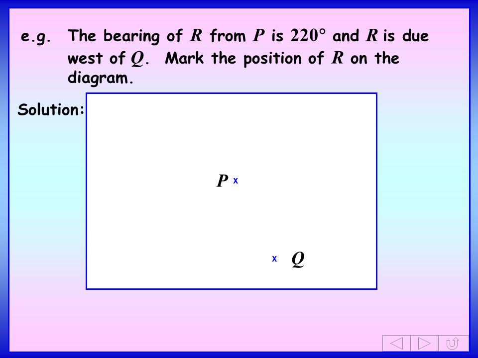 e.g.The bearing of R from P is 220 and R is due west of Q.