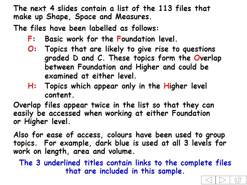 The next 4 slides contain a list of the 113 files that make up Shape, Space and Measures.