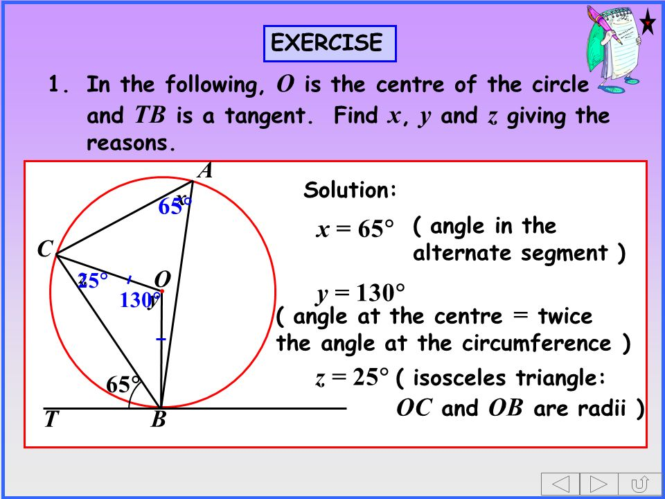 O A C BT EXERCISE 1.In the following, O is the centre of the circle and TB is a tangent.