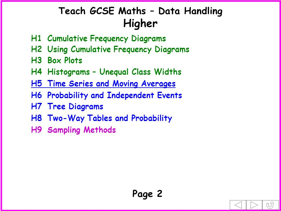 H1Cumulative Frequency Diagrams H3Box Plots H4Histograms – Unequal Class Widths H7Tree Diagrams H8Two-Way Tables and Probability H5Time Series and Moving Averages H6Probability and Independent Events H2Using Cumulative Frequency Diagrams H9Sampling Methods Page 2 Higher Teach GCSE Maths – Data Handling