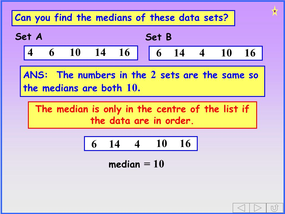 144 Can you find the medians of these data sets.