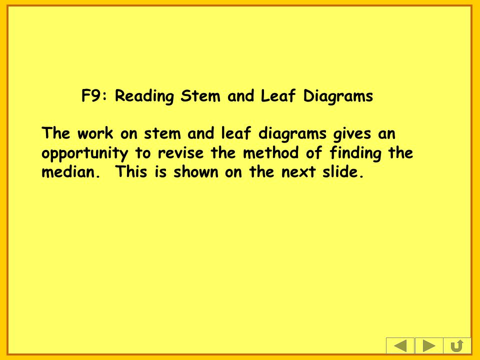 F9: Reading Stem and Leaf Diagrams The work on stem and leaf diagrams gives an opportunity to revise the method of finding the median.