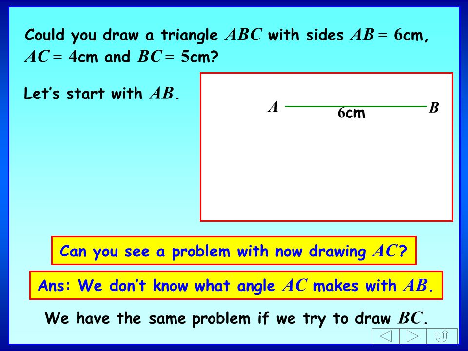 Can you see a problem with now drawing AC ? Ans: We dont know what angle AC makes with AB. Lets start with AB. A B 6 cm Could you draw a triangle ABC