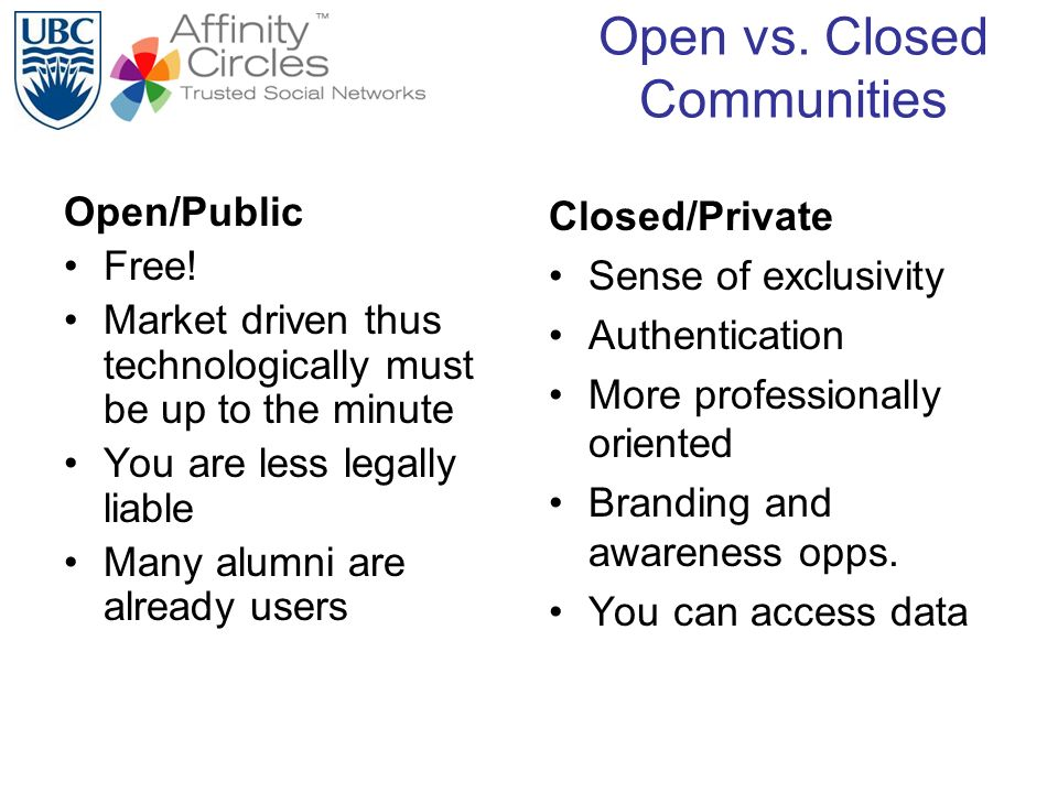 Open vs. Closed Communities Open/Public Free! Market driven thus technologically must be up to the minute You are less legally liable Many alumni are