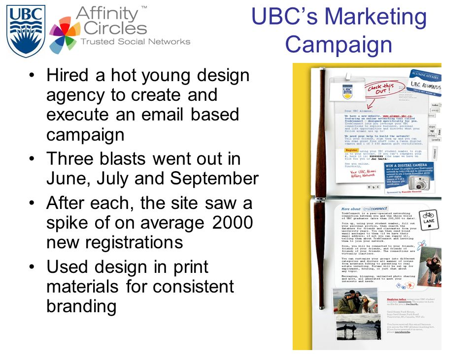 UBCs Marketing Campaign Hired a hot young design agency to create and execute an email based campaign Three blasts went out in June, July and Septembe