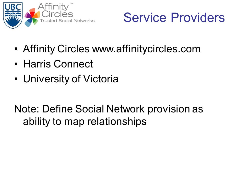 Service Providers Affinity Circles www.affinitycircles.com Harris Connect University of Victoria Note: Define Social Network provision as ability to m