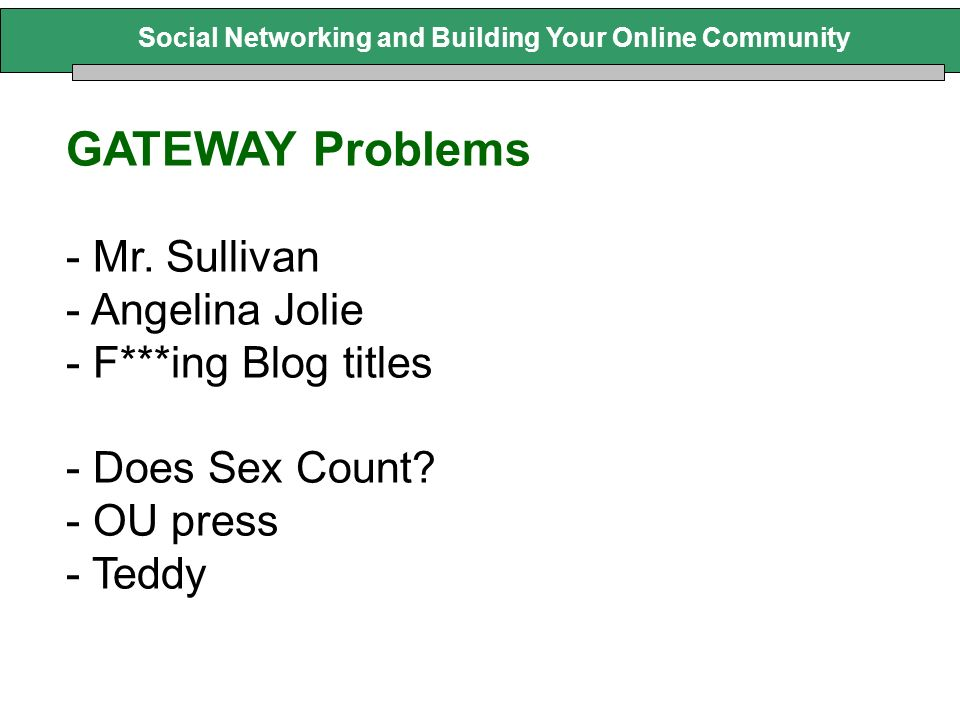 GATEWAY Problems - Mr. Sullivan - Angelina Jolie - F***ing Blog titles - Does Sex Count? - OU press - Teddy
