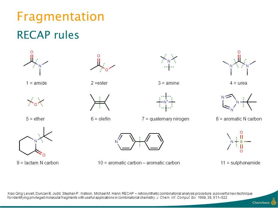 Fragmentation RECAP rules 1 = amide2 =ester3 = amine4 = urea 5 = ether6 = olefin7 = quaternary nirogen8 = aromatic N carbon 9 = lactam N carbon10 = ar