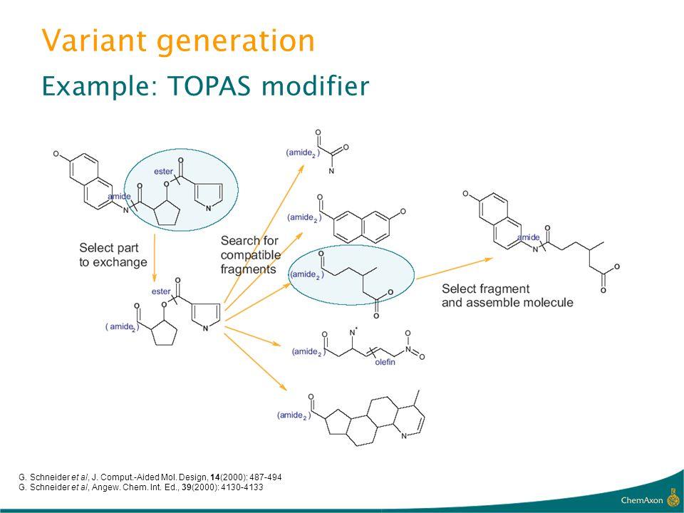Variant generation Example: TOPAS modifier G. Schneider et al, J. Comput.-Aided Mol. Design, 14(2000): 487-494 G. Schneider et al, Angew. Chem. Int. E