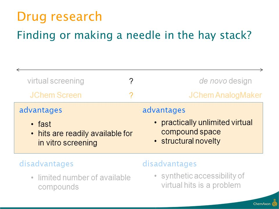 Drug research Finding or making a needle in the hay stack? virtual screening JChem Screen de novo design JChem AnalogMaker advantages disadvantages fa