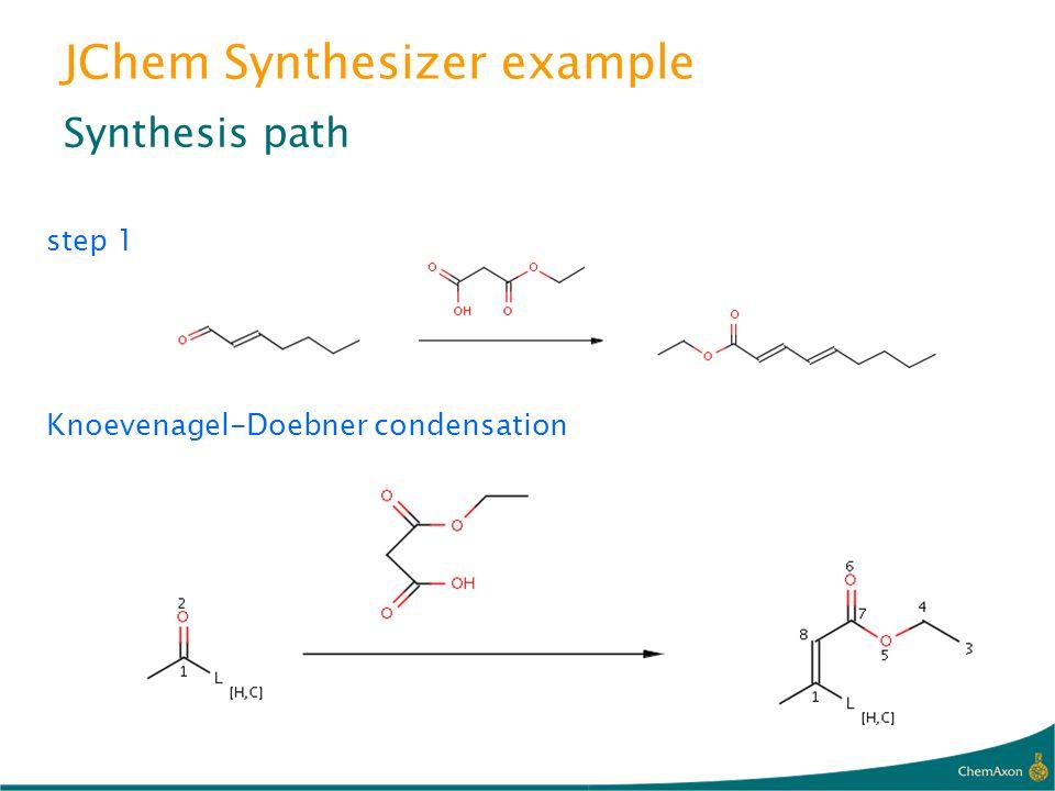 JChem Synthesizer example Synthesis path step 1 Knoevenagel-Doebner condensation