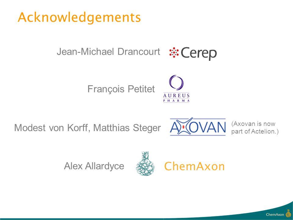 Acknowledgements Modest von Korff, Matthias Steger (Axovan is now part of Actelion.) François Petitet Alex Allardyce ChemAxon Jean-Michael Drancourt