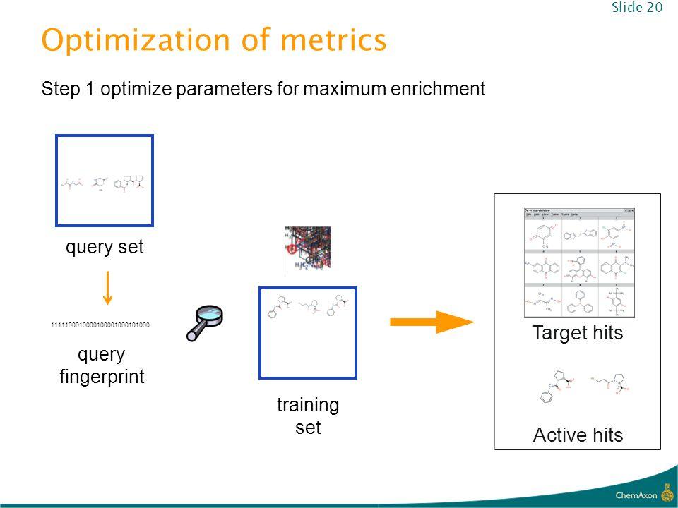 Optimization of metrics query set training set Step 1 optimize parameters for maximum enrichment Target hits Active hits 1111100010000100001000101000