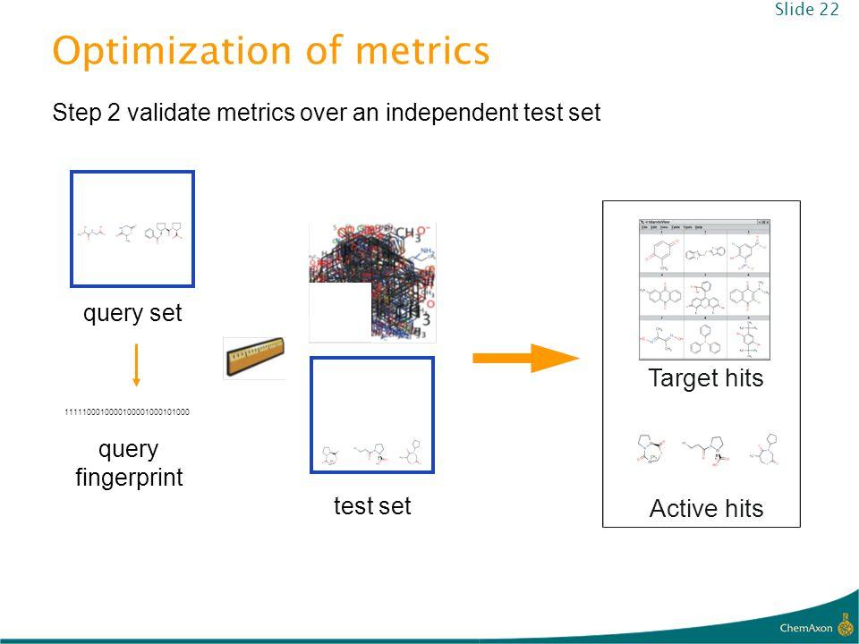 Optimization of metrics test set Step 2 validate metrics over an independent test set Target hits Active hits query set 1111100010000100001000101000 q