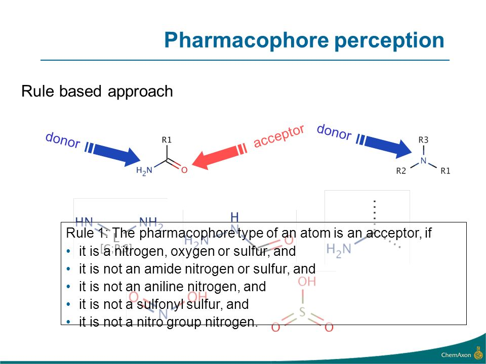 Rule based approach donor Rule 1: The pharmacophore type of an atom is an acceptor, if it is a nitrogen, oxygen or sulfur, and it is not an amide nitr