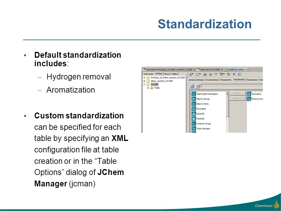 Standardization Default standardization includes: – Hydrogen removal – Aromatization Custom standardization can be specified for each table by specify