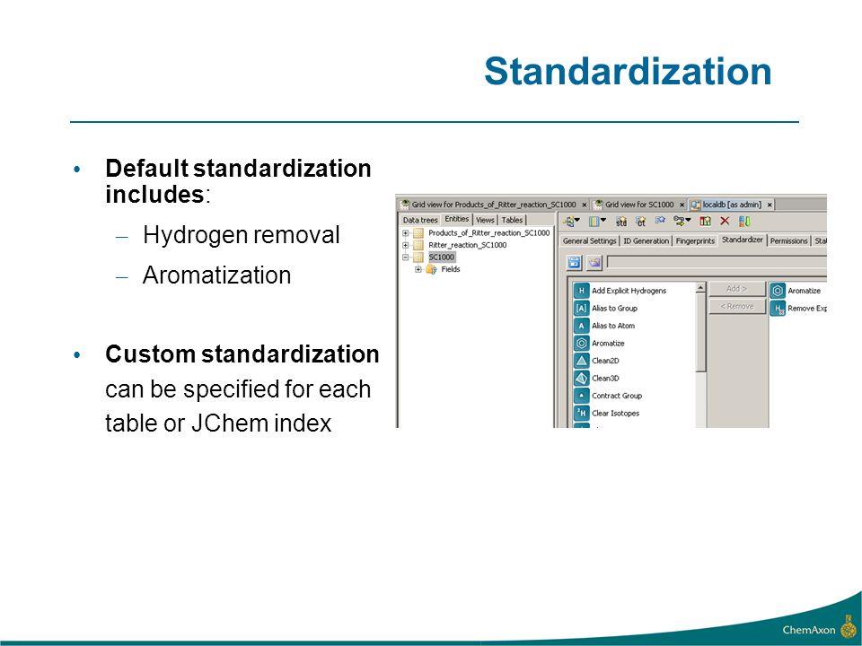 Standardization Default standardization includes: – Hydrogen removal – Aromatization Custom standardization can be specified for each table or JChem i