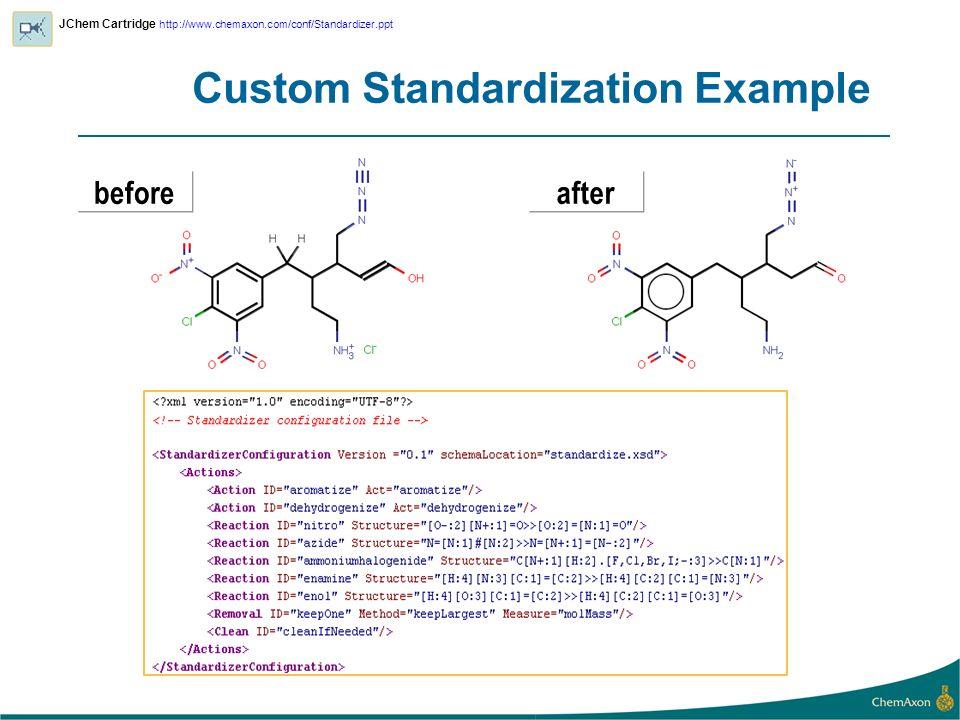 Custom Standardization Example afterbefore JChem Cartridge http://www.chemaxon.com/conf/Standardizer.ppt