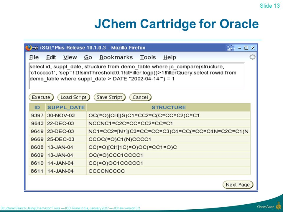 Slide 13 Structural Search Using ChemAxon Tools ICCI Pune India, January 2007 JChem version 3.2 13 JChem Cartridge for Oracle