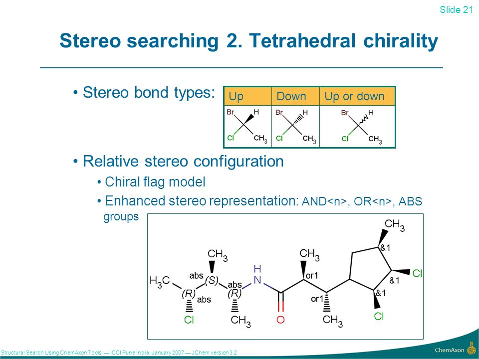 Slide 21 Structural Search Using ChemAxon Tools ICCI Pune India, January 2007 JChem version 3.2 21 Stereo searching 2.