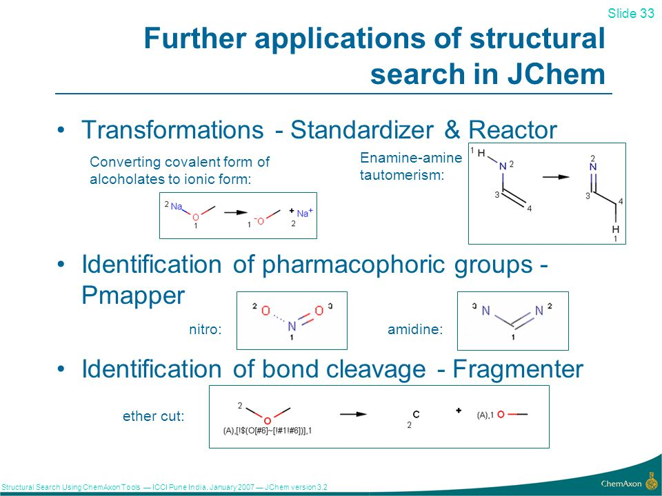 Slide 33 Structural Search Using ChemAxon Tools ICCI Pune India, January 2007 JChem version 3.2 33 Further applications of structural search in JChem Transformations - Standardizer & Reactor Identification of pharmacophoric groups - Pmapper nitro:amidine: Identification of bond cleavage - Fragmenter ether cut: Enamine-amine tautomerism: Converting covalent form of alcoholates to ionic form: