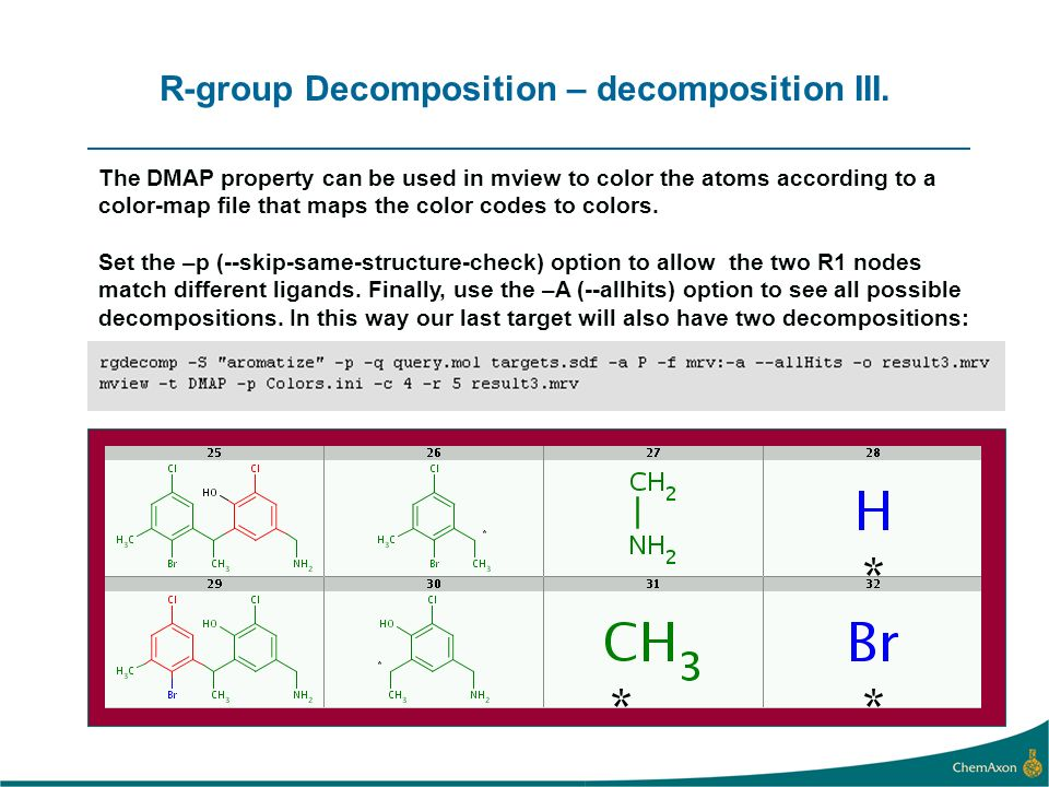 R-group Decomposition – decomposition III.