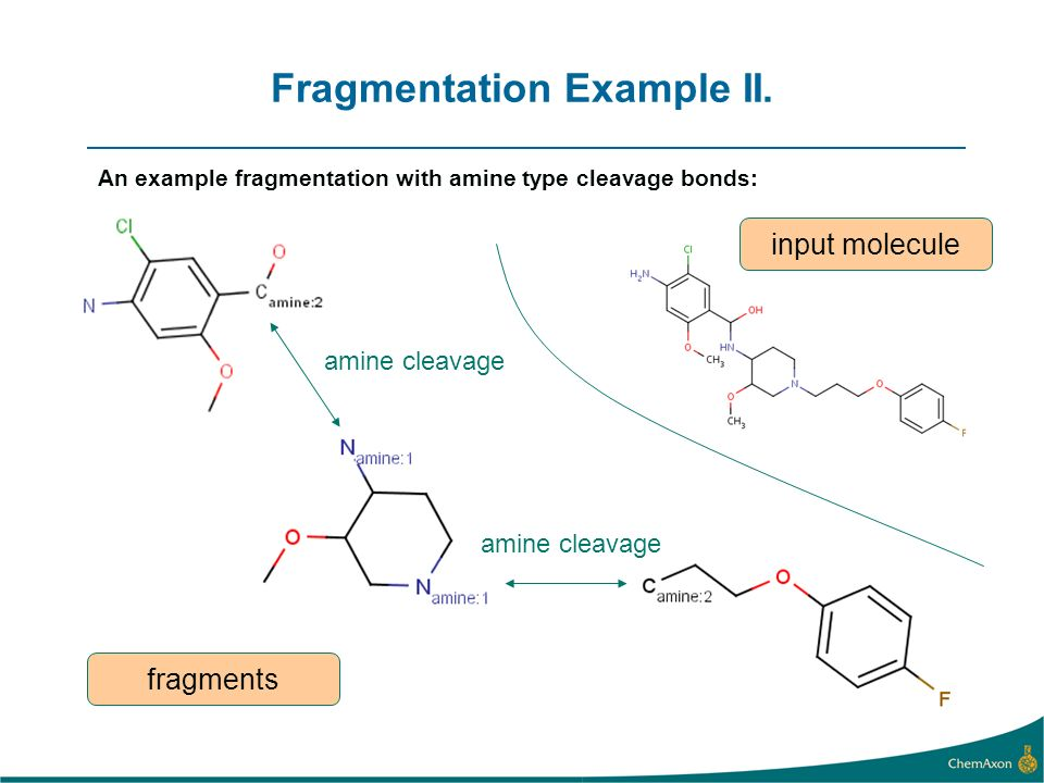 Fragmentation Example III. All fragments of the same input molecule (extensive fragmentation):