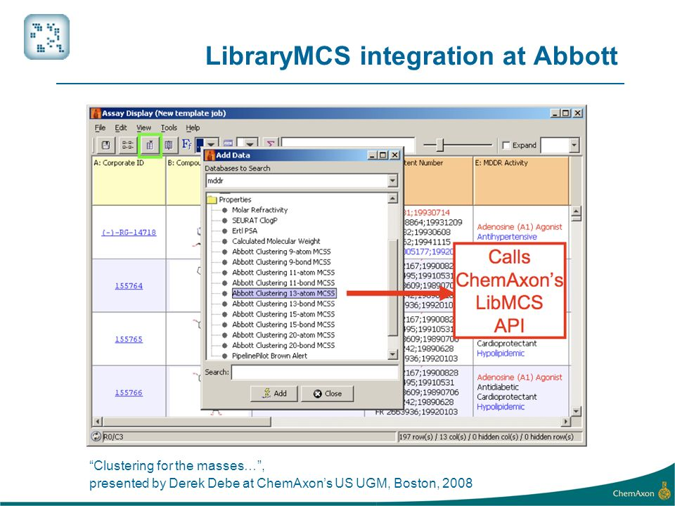 LibraryMCS integration at Abbott Clustering for the masses…, presented by Derek Debe at ChemAxons US UGM, Boston, 2008