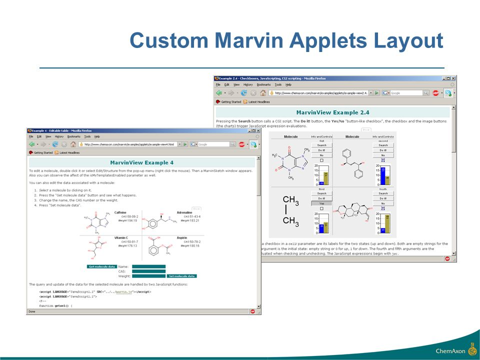 Custom Marvin Applets Layout