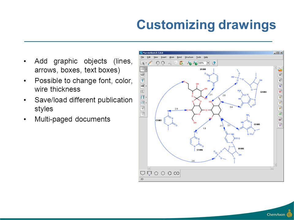 Customizing drawings Add graphic objects (lines, arrows, boxes, text boxes) Possible to change font, color, wire thickness Save/load different publica