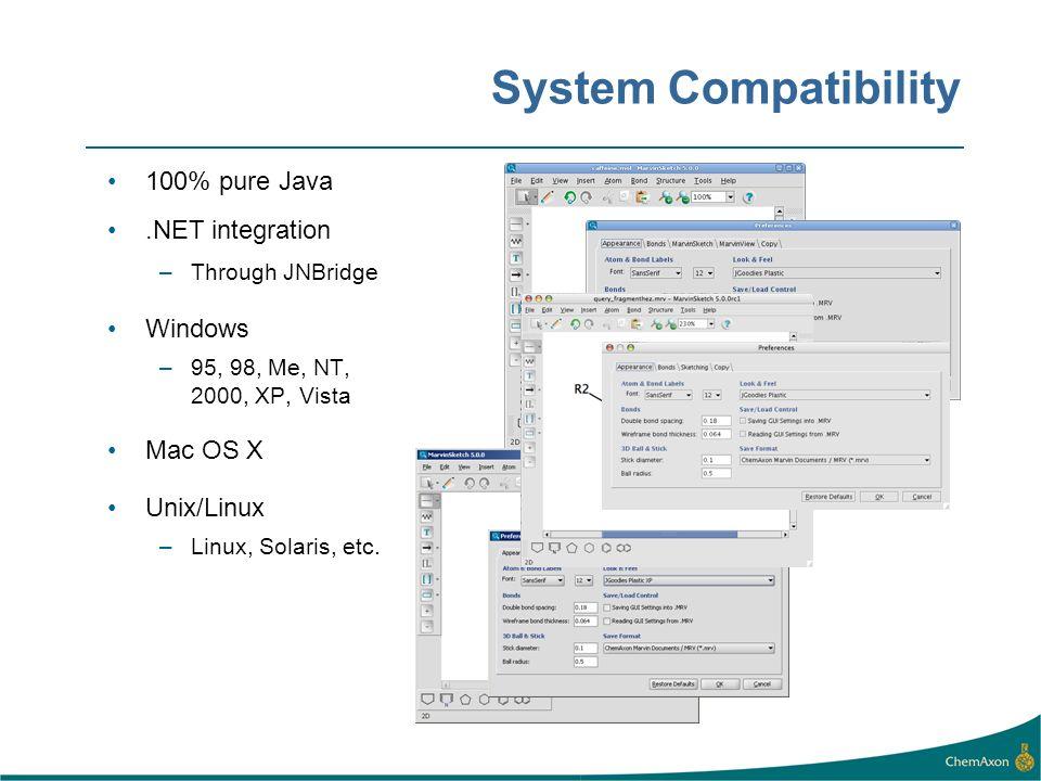 System Compatibility 100% pure Java.NET integration –Through JNBridge Windows –95, 98, Me, NT, 2000, XP, Vista Mac OS X Unix/Linux –Linux, Solaris, et