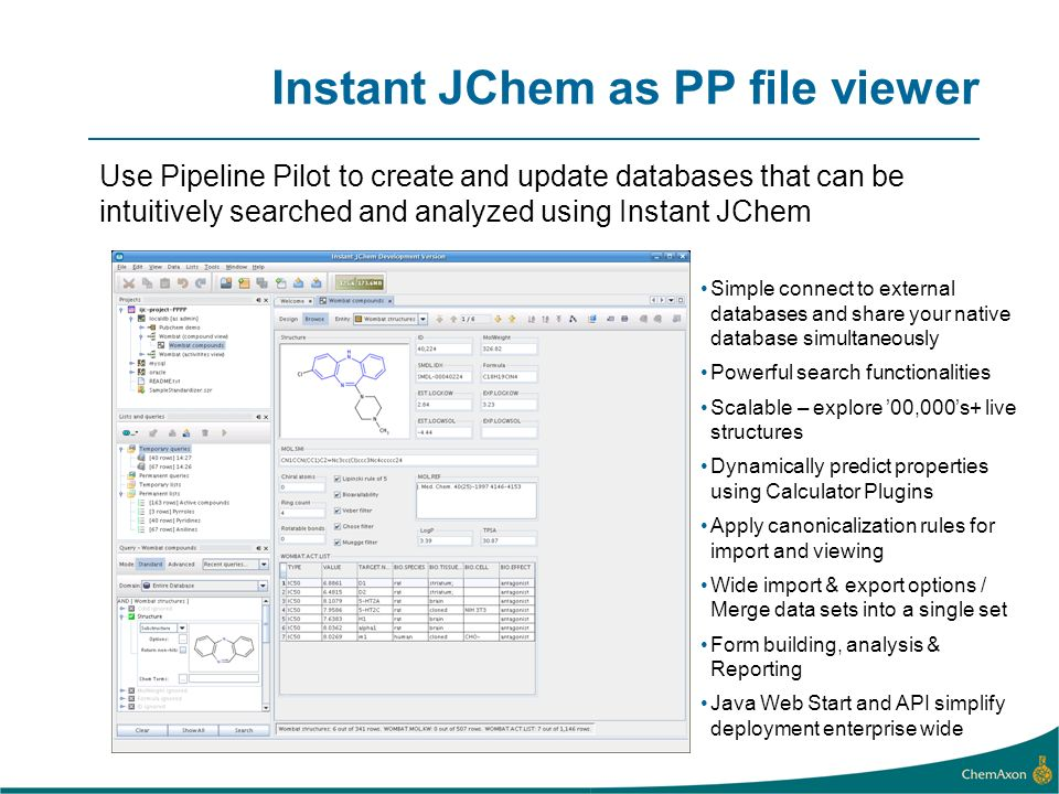 Instant JChem as PP file viewer Use Pipeline Pilot to create and update databases that can be intuitively searched and analyzed using Instant JChem Simple connect to external databases and share your native database simultaneously Powerful search functionalities Scalable – explore 00,000s+ live structures Dynamically predict properties using Calculator Plugins Apply canonicalization rules for import and viewing Wide import & export options / Merge data sets into a single set Form building, analysis & Reporting Java Web Start and API simplify deployment enterprise wide