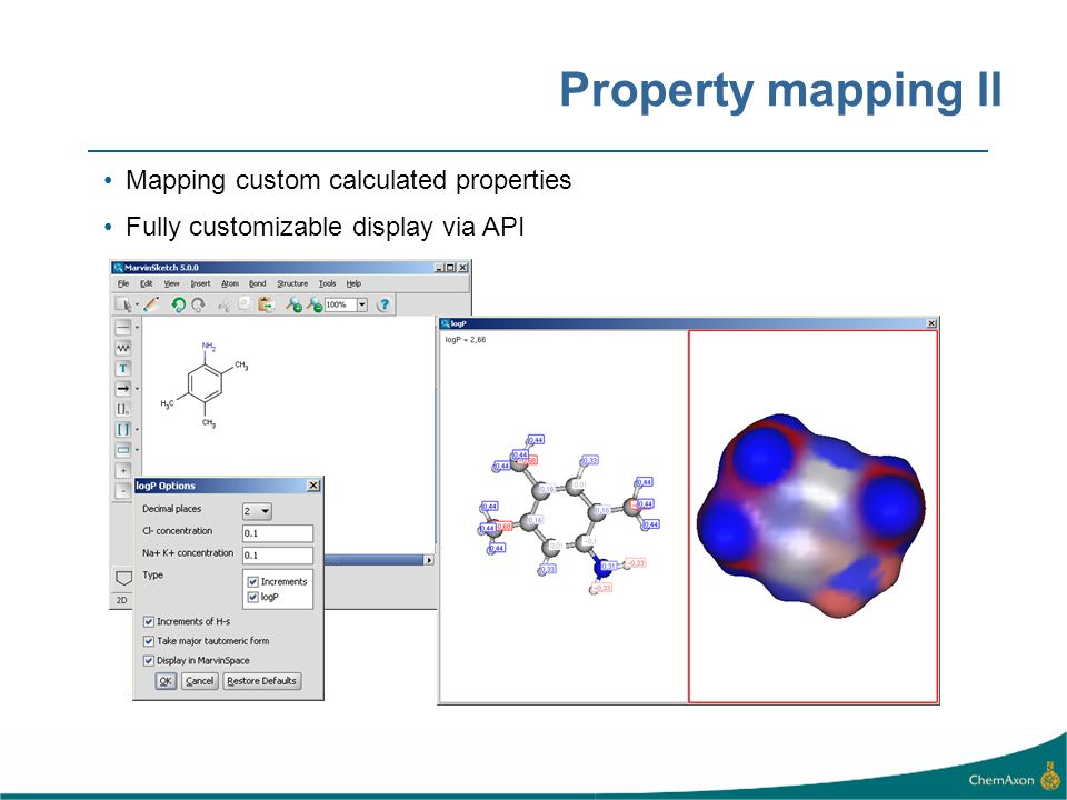 Property mapping II Mapping custom calculated properties Fully customizable display via API