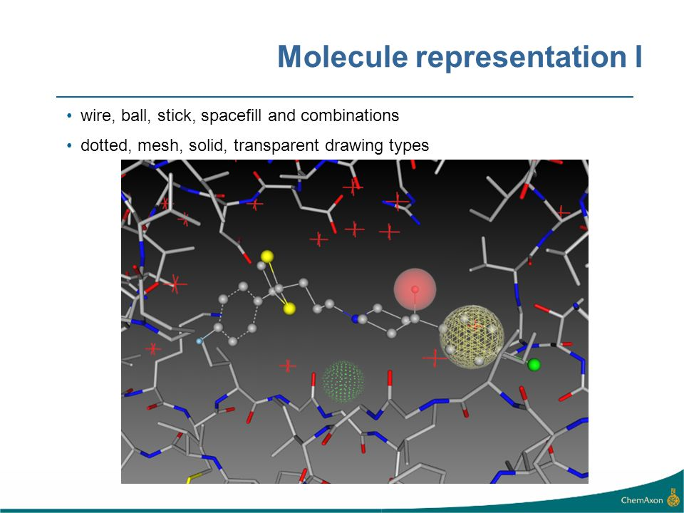 Molecule representation I wire, ball, stick, spacefill and combinations dotted, mesh, solid, transparent drawing types