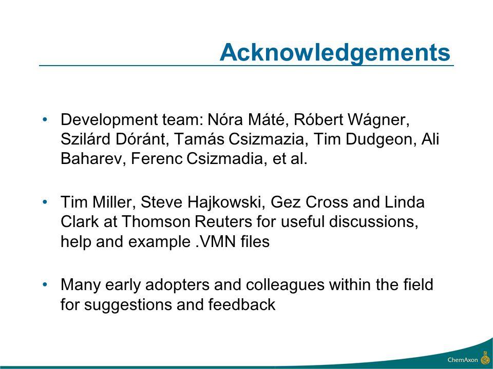 Acknowledgements Development team: Nóra Máté, Róbert Wágner, Szilárd Dóránt, Tamás Csizmazia, Tim Dudgeon, Ali Baharev, Ferenc Csizmadia, et al.