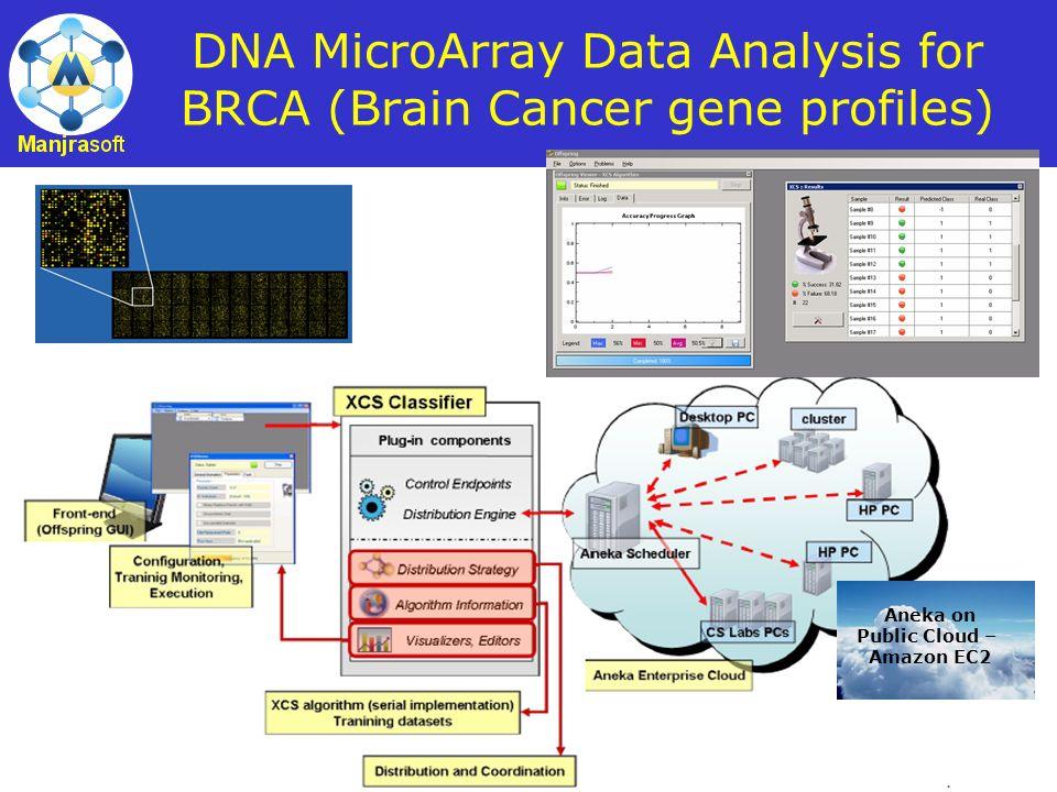 37 DNA MicroArray Data Analysis for BRCA (Brain Cancer gene profiles) Aneka on Public Cloud – Amazon EC2