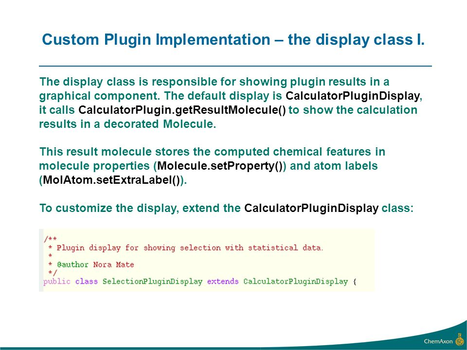 Custom Plugin Implementation – the display class I.