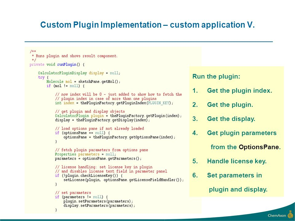 Custom Plugin Implementation – custom application V.