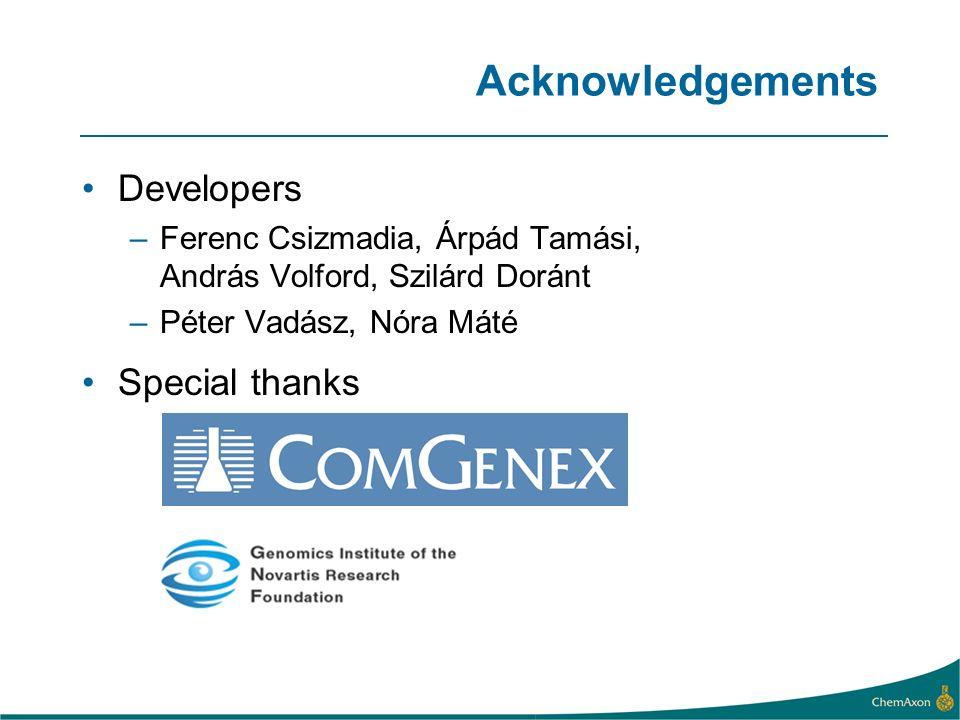 Acknowledgements Developers –Ferenc Csizmadia, Árpád Tamási, András Volford, Szilárd Doránt –Péter Vadász, Nóra Máté Special thanks