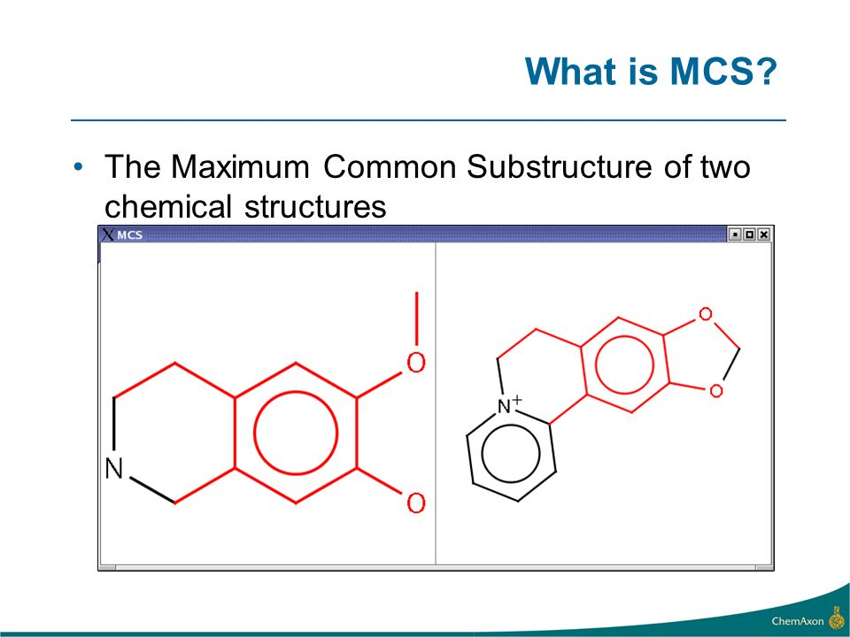What is MCS? The Maximum Common Substructure of two chemical structures