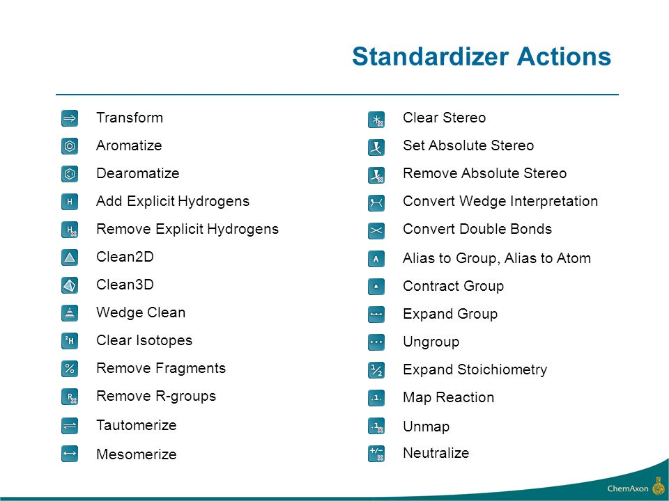 Standardizer Actions Aromatize Dearomatize Add Explicit Hydrogens Remove Explicit Hydrogens Clean2D Clean3D Transform Wedge Clean Clear Isotopes Remove Fragments Remove R-groups Neutralize Tautomerize Mesomerize Set Absolute Stereo Remove Absolute Stereo Convert Wedge Interpretation Convert Double Bonds Clear Stereo Alias to Group, Alias to Atom Contract Group Expand Group Ungroup Expand Stoichiometry Map Reaction Unmap