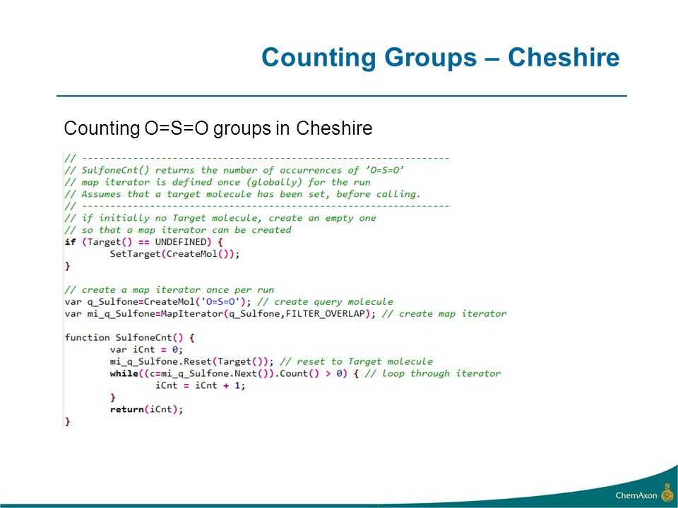 Counting Groups – Cheshire Counting O=S=O groups in Cheshire