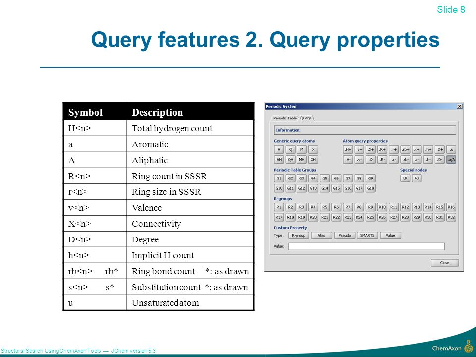 Slide 9 Structural Search Using ChemAxon Tools JChem version 5.3 Query features 3.