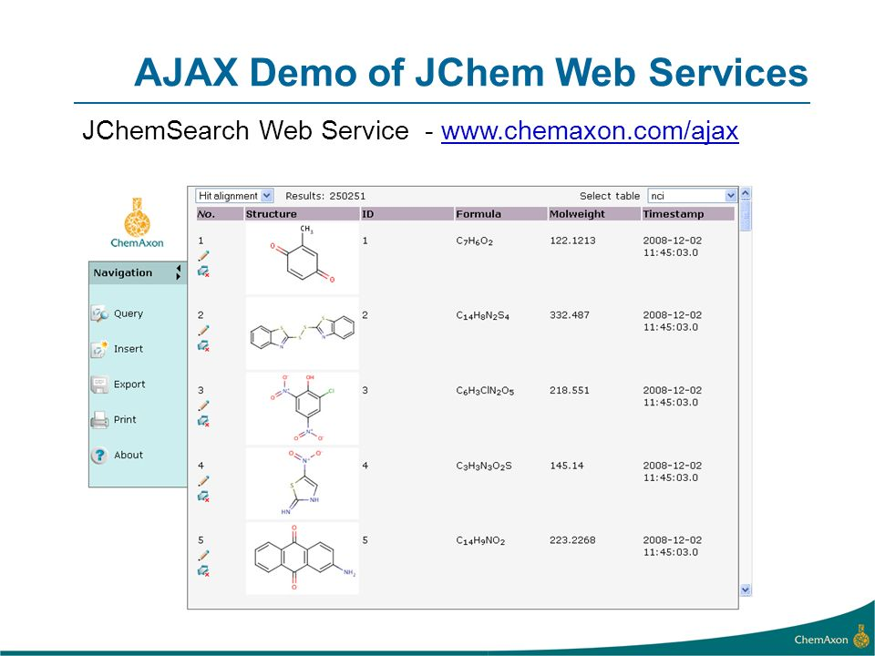 AJAX Demo of JChem Web Services JChemSearch Web Service - www.chemaxon.com/ajaxwww.chemaxon.com/ajax