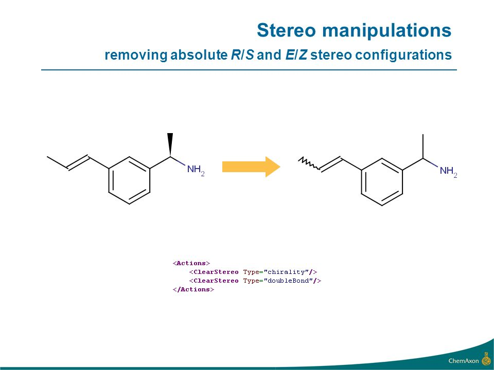 Stereo manipulations removing absolute R/S and E/Z stereo configurations