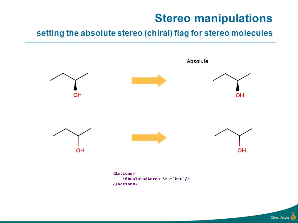 Stereo manipulations setting the absolute stereo (chiral) flag for stereo molecules