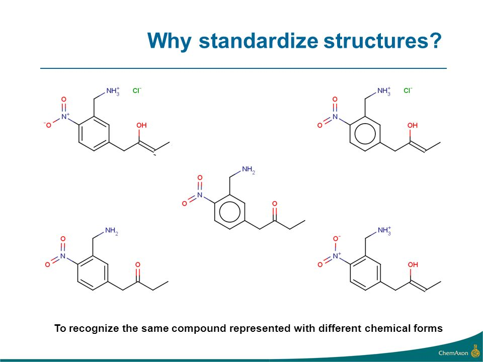 Why standardize structures? To recognize the same compound represented with different chemical forms